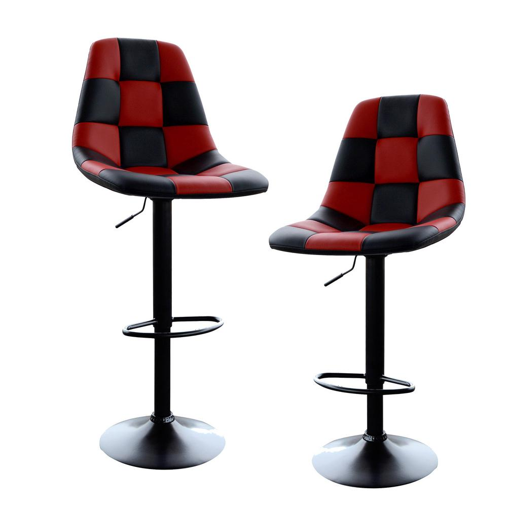 Brilliant Adjustable Height Red Black Swivel Cushioned Bar Stool Set Of 2 Uwap Interior Chair Design Uwaporg