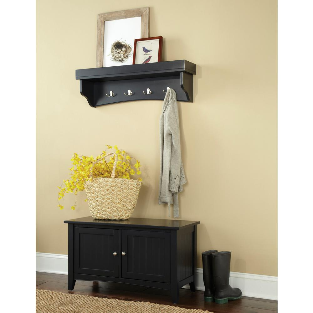 Alaterre Furniture Shaker Cottage Black Hall Tree with Storage