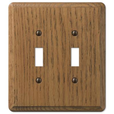 Contemporary 2 Gang Toggle Wood Wall Plate - Medium Oak