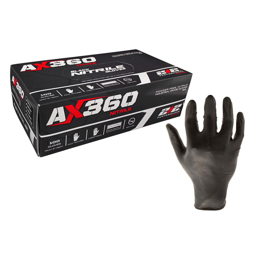 Disposable Black Nitrile Gloves (Latex Free), X-Large (100 Count)