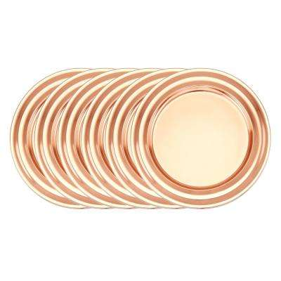 13 in. Decor Copper Collar Rim Charger Plates (Set of 6)