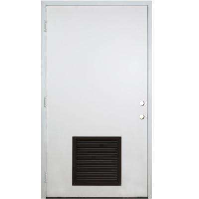 42 in. x 80 in. Classic Vented Flush RHOS White Primed Smooth Fiberglass Prehung Front Door with Composite 4-9/16 Frame
