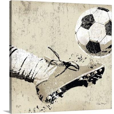 "24 in. x 24 in. ""Vintage Soccer Strike"" by Peter Horjus Canvas Wall Art"
