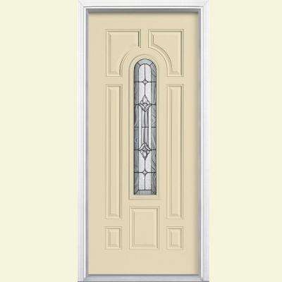 36 x 80 in. Providence Center Arch Golden Haystack Right-Hand Inswing Painted Fiberglass Prehung Front Door w/ Brickmold