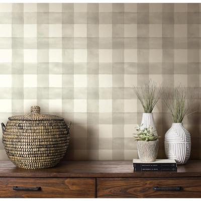 56 sq. ft. Grays and White Magnolia Home Watercolor Check Removable Wallpaper