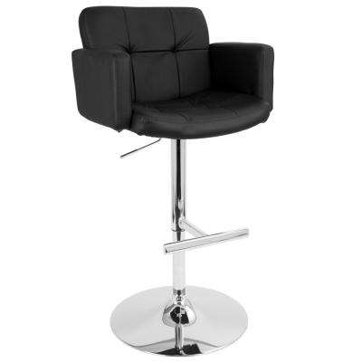 Stout Chrome and Black Faux Leather Adjustable Height Bar Stool