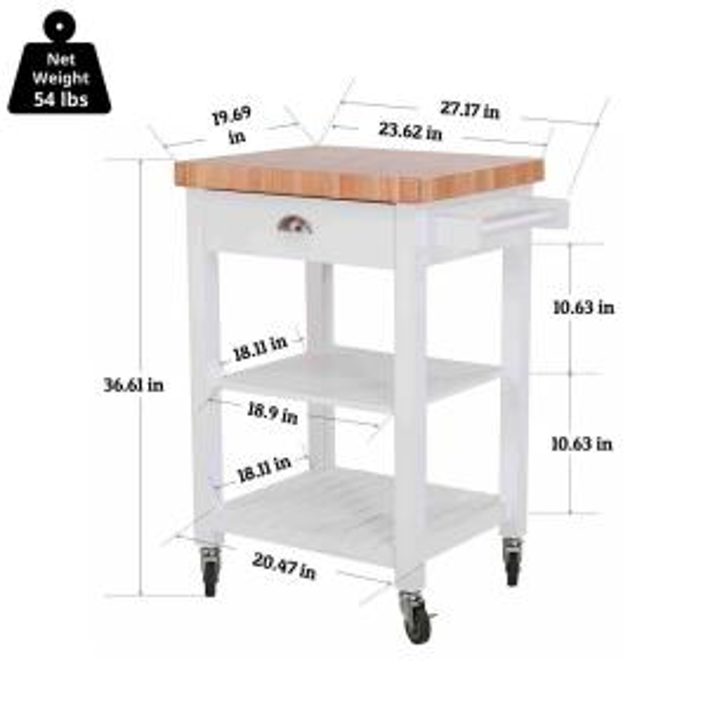 Hampton Bay Brookwood White Wood Kitchen Cart on Wheels with ...