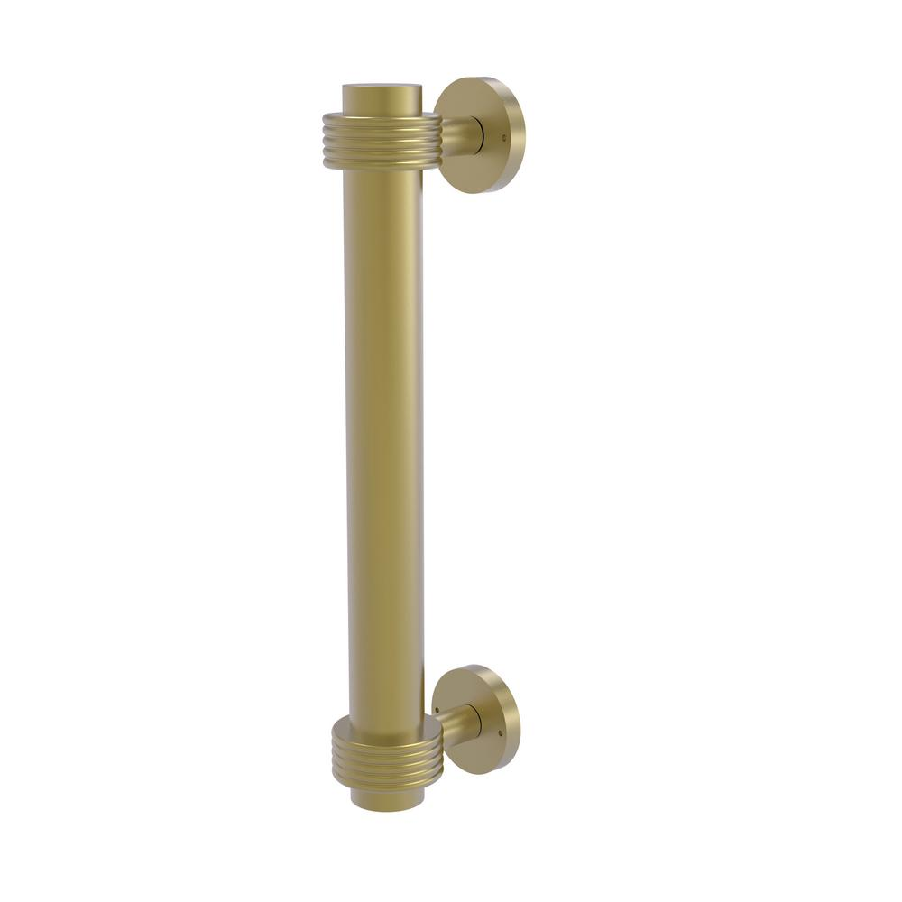 8 in. Door Pull with Groovy Accents in Satin Brass