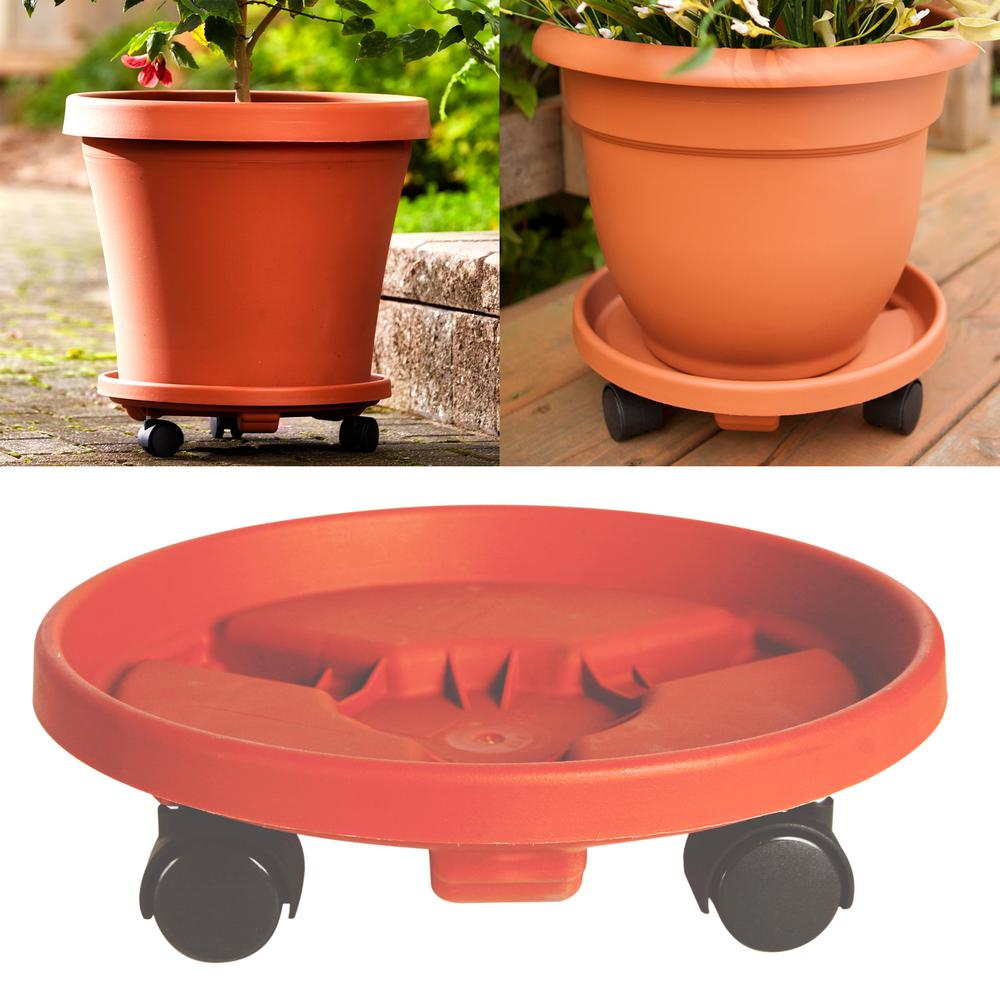 Rolling Planter Caddy 12 in. Terra Cotta (Red) Plastic Round