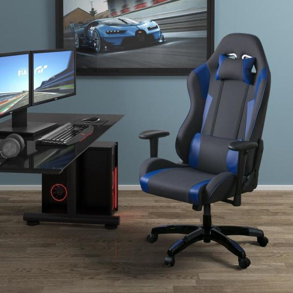 CorLiving Grey and Blue High Back Ergonomic Office Gaming Chair with