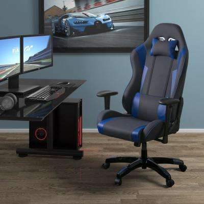 Grey and Blue High Back Ergonomic Office Gaming Chair with Height Adjustable Arms
