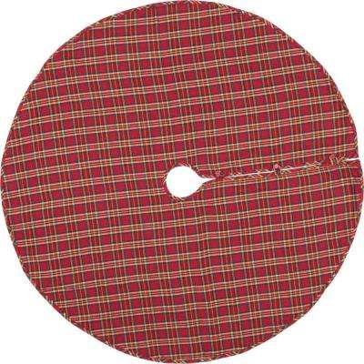 55 in. Galway Barn Red Rustic Christmas Decor Tree Skirt
