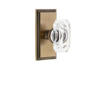 Carre Plate 2-3/8 in. Backset Vintage Brass Privacy Bed/Bath with Baguette Crystal Door Knob