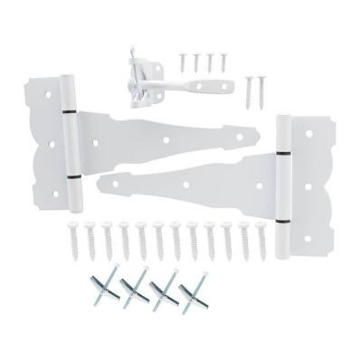White Decorative Gate Hinge and Latch Set