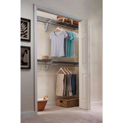12 ft. Steel Closet Organizer Kit with 2-Expandable Shelf and Rod Units in Silver with End Bracket