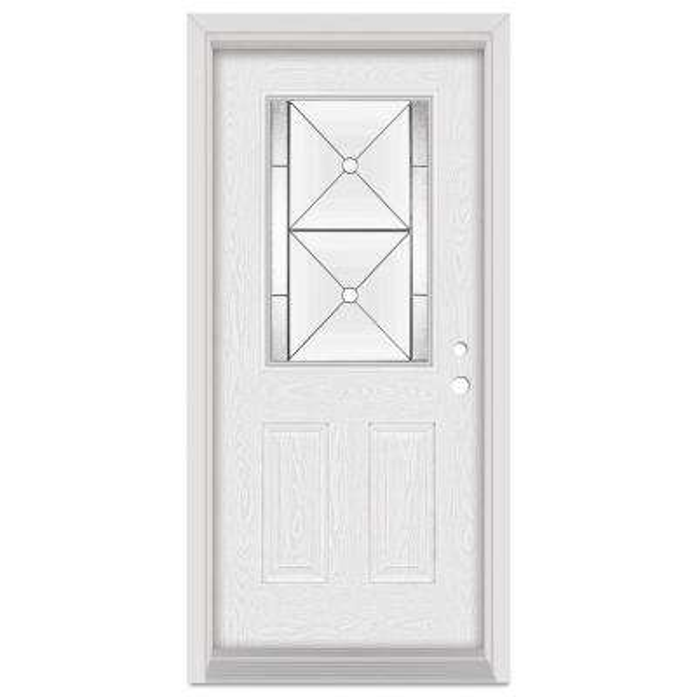 33.375 in. x 83 in. Bellochio Left-Hand 1/2 Lite Patina Finished Fiberglass Oak Woodgrain Prehung Front Door Brickmould
