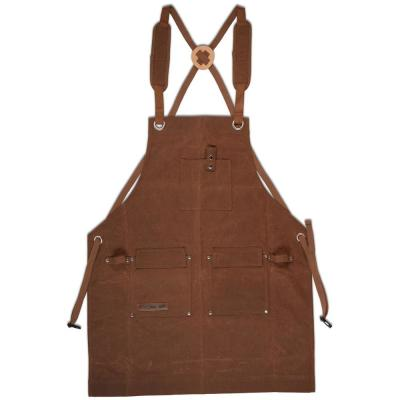 Waxed Canvas Shop Apron Heavy Duty Woodworking Workshop Apron with Pockets Black