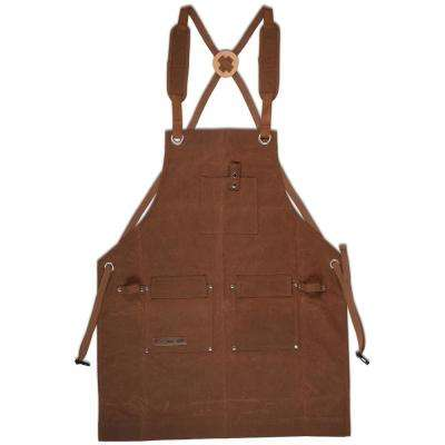 27 in. x 34 in. 4-Pocket Canvas Shop Apron Deluxe Edition Brown Heavy-Duty Waxed