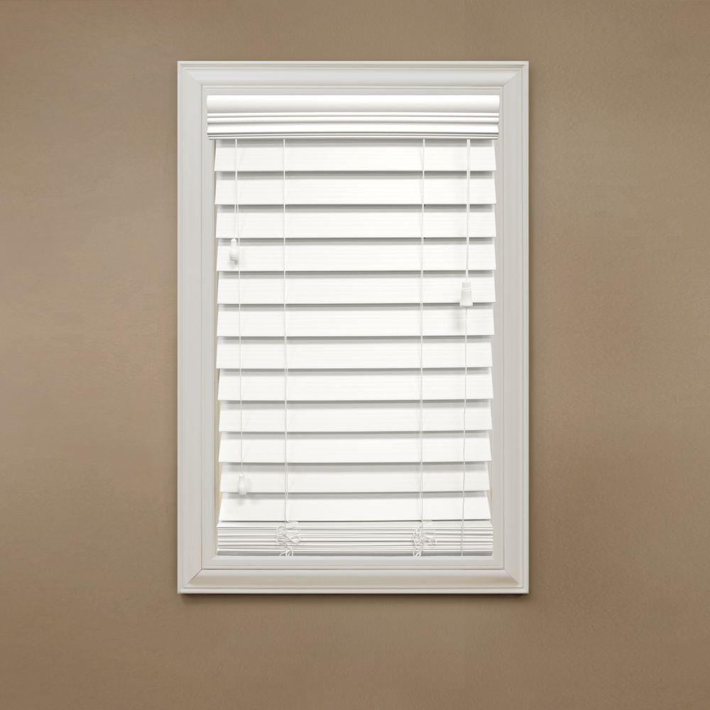 Home Decorators Collection Cut-to-Width White 2-1/2 in. Premium Faux Wood Blind - 52 in. W x 48 in. L (Actual Size 51.5 in. W 48 in. L )