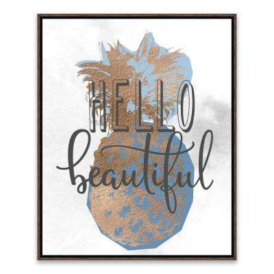 """17 in. x 21 in. """"Hello Beautiful Pineapple"""" by Nikki Chu Foil Embellished Framed Printed Canvas Wall Art"""