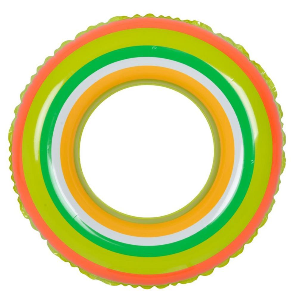 35 in. Green and Orange Stripe Inflatable Inner Tube Float