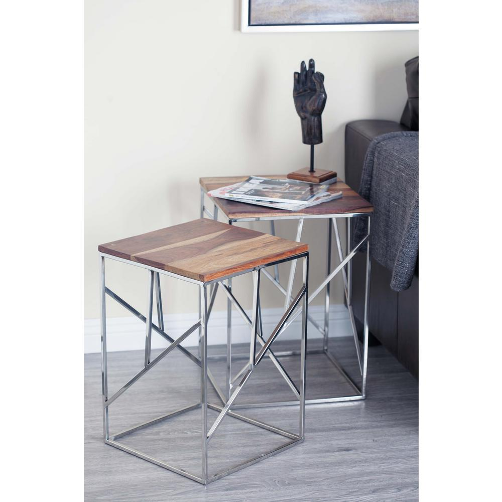 Wood and Stainless Steel Geometrical Nesting Tables (Set of 3)  sc 1 st  Home Depot & Wood and Stainless Steel Geometrical Nesting Tables (Set of 3)-72932 ...