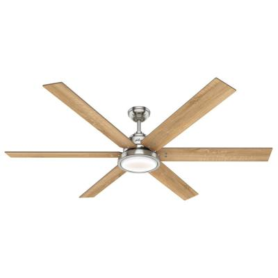 Warrant 70 in. LED Indoor Brushed Nickel Ceiling Fan with Light