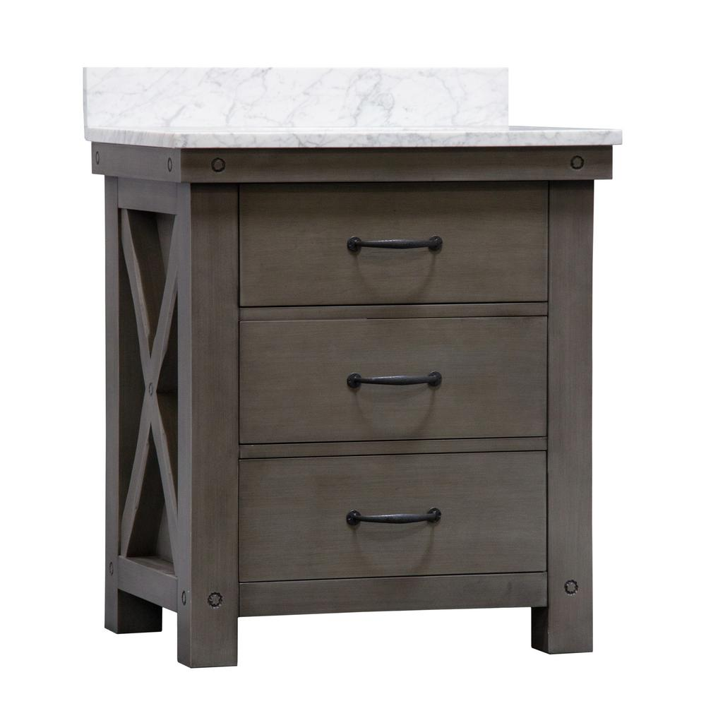 Water Creation Aberdeen 30 in. W x 34 in. H Vanity in Gray with Marble Vanity Top in Carrara White with White Basin