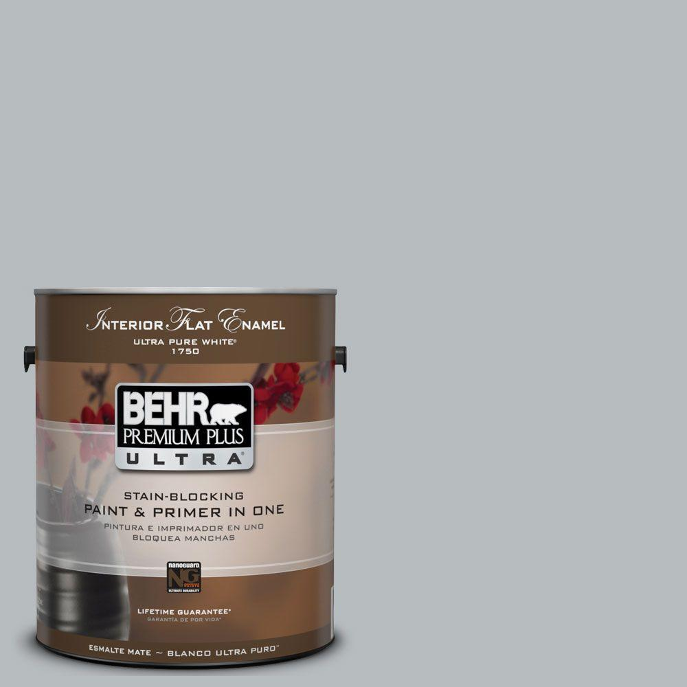 BEHR Premium Plus Ultra 1 gal. #UL260-19 French Silver Flat Enamel Interior Paint and Primer in One