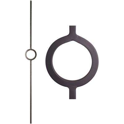 Aalto Modern 44 in. x 0.5 in. Satin Black Single Ring Solid Wrought Iron Baluster