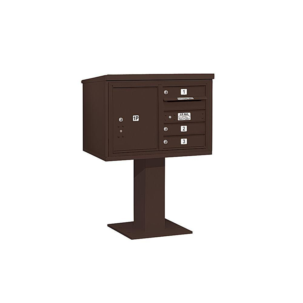 Salsbury Industries 3400 Series 48-1/8 in. 5 Door High Unit Bronze 4C Pedestal Mailbox with 3 MB1 Doors/1 PL5