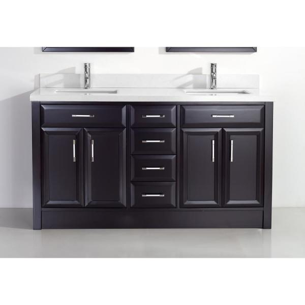 Calais 63 in. Vanity in Espresso with Solid Surface Vanity Top