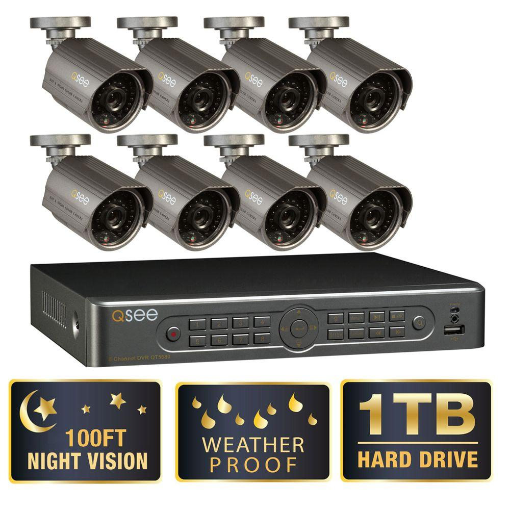 Q-SEE Premium Series 8-Channel 1TB Surveillance System with (8) 600 TVL Cameras and 100 ft. Night Vision-DISCONTINUED
