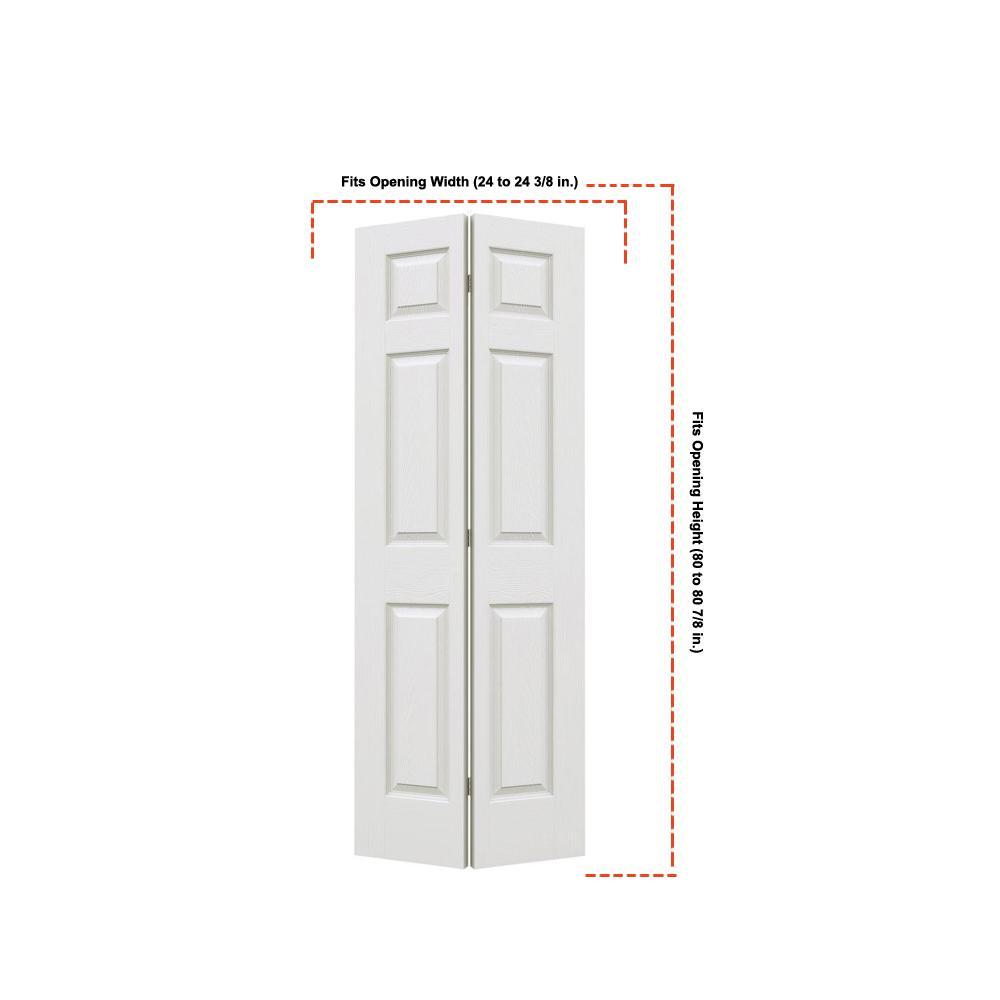 24 in. x 80 in. Colonist Primed Textured Molded Composite MDF Closet Bi-Fold Door