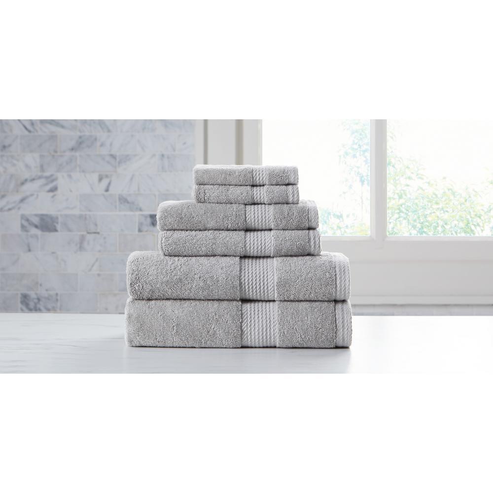 Extravagant 6-Piece Grey Slivadur Antibacterial Material Towel Set