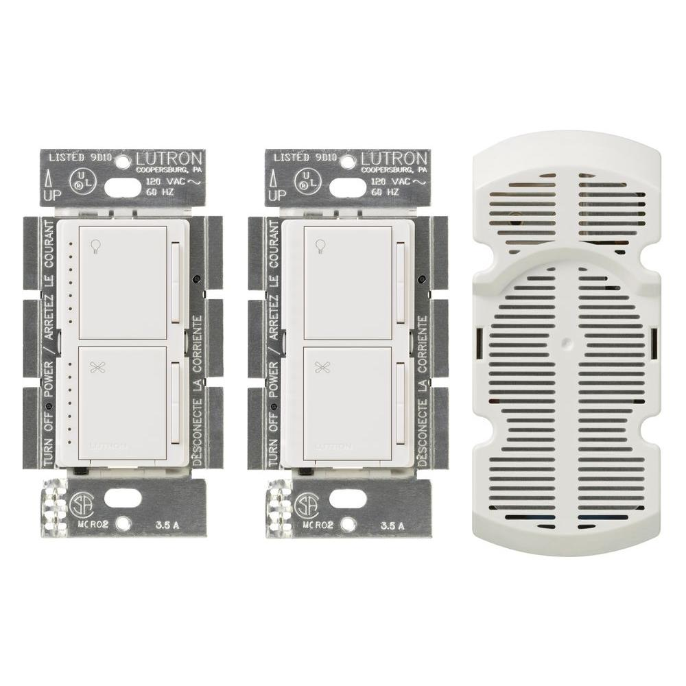 Lutron Maestro 1-Amp Multi-Location 7 Speed Combination Fan and Light Control Kit - White