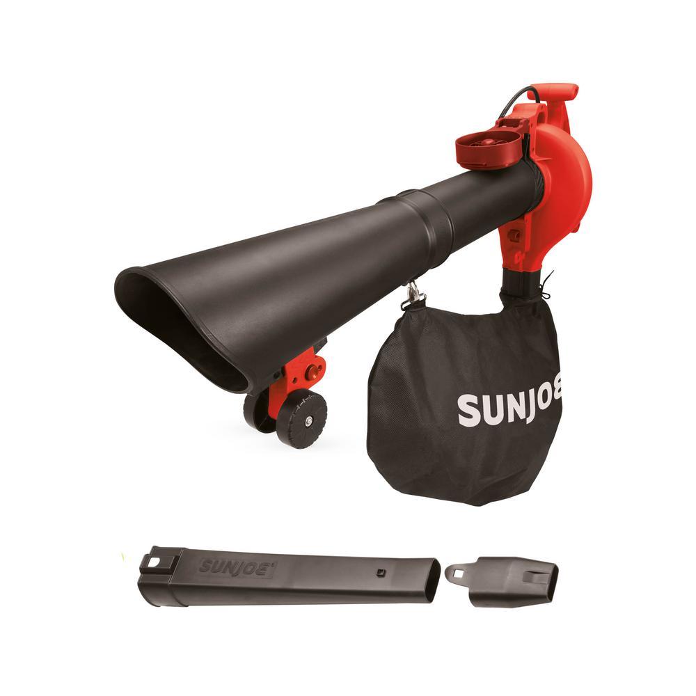 Sun Joe SBJ605E-RED 3-in-1 Electric Blower | 250 MPH | 14 Amp | Vacuum | Mulcher (Red)