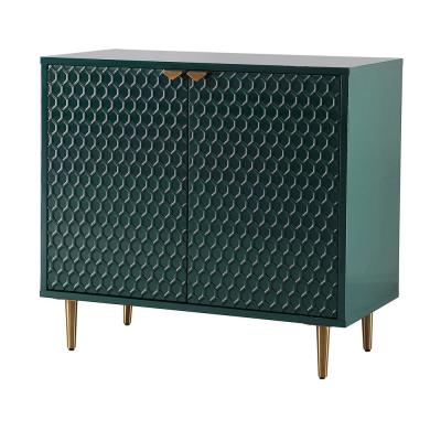 31.5-in Height Green MDF High Gloss Accent Cabinet Storage Nightstands with Golden Stand and 2-Shutter Doors