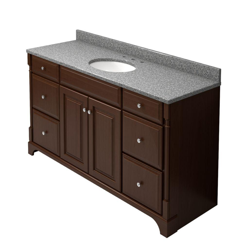 KraftMaid 60 in. Vanity in Autumn Blush with Natural Quartz Vanity Top in Silver Strand and White Sink-DISCONTINUED