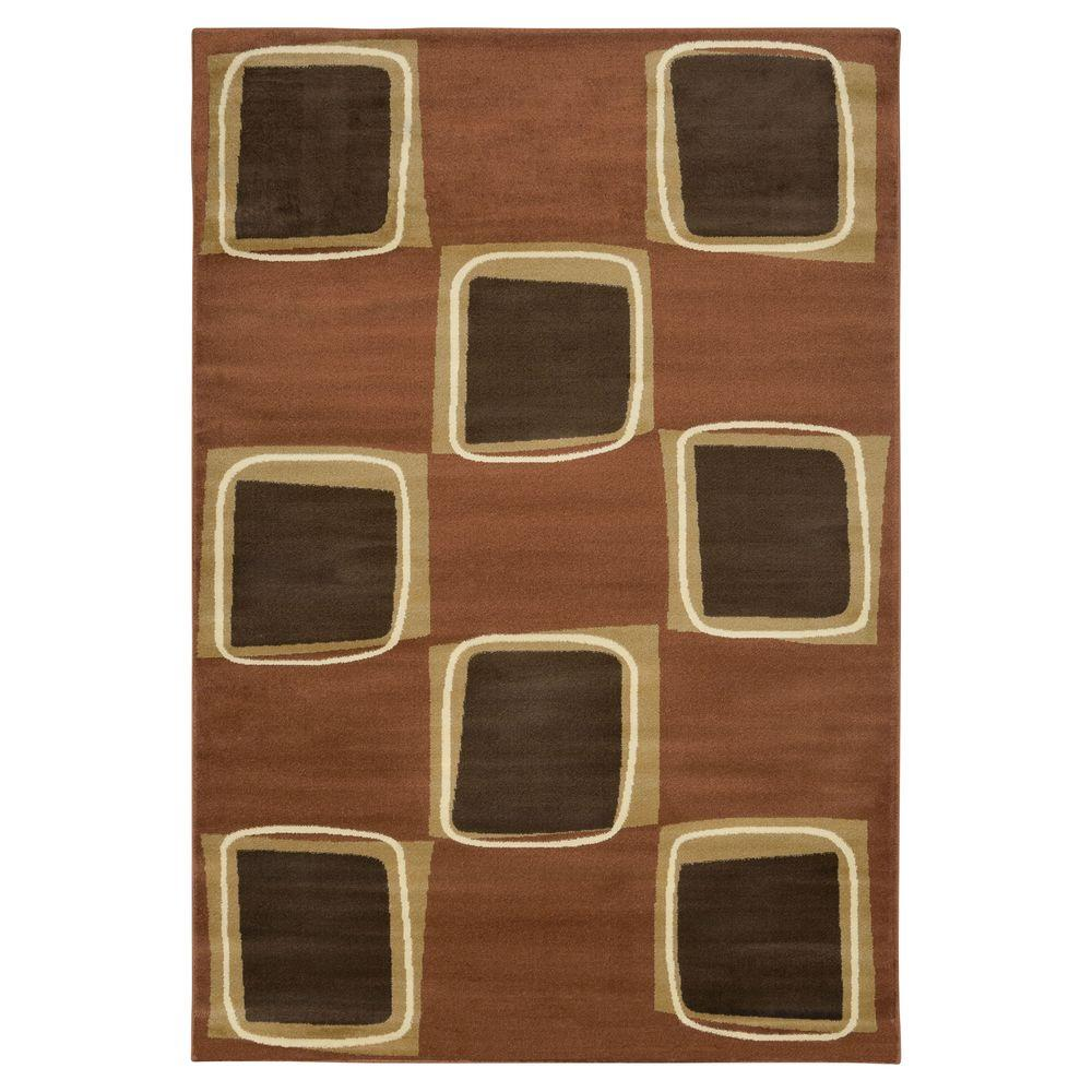 Lavish Home Eight Square Rose and Brown 5 ft. x 7 ft. x 3 in. Area Rug