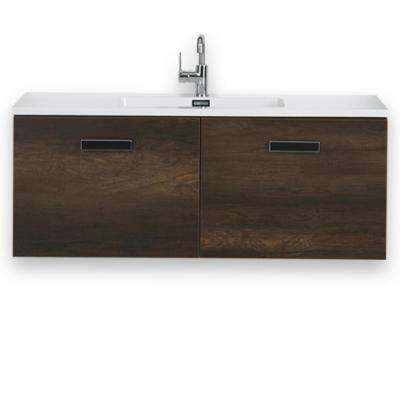 47.2 in. W x 18.1 in. H Bath Vanity in Brown with Resin Vanity Top in White with White Basin