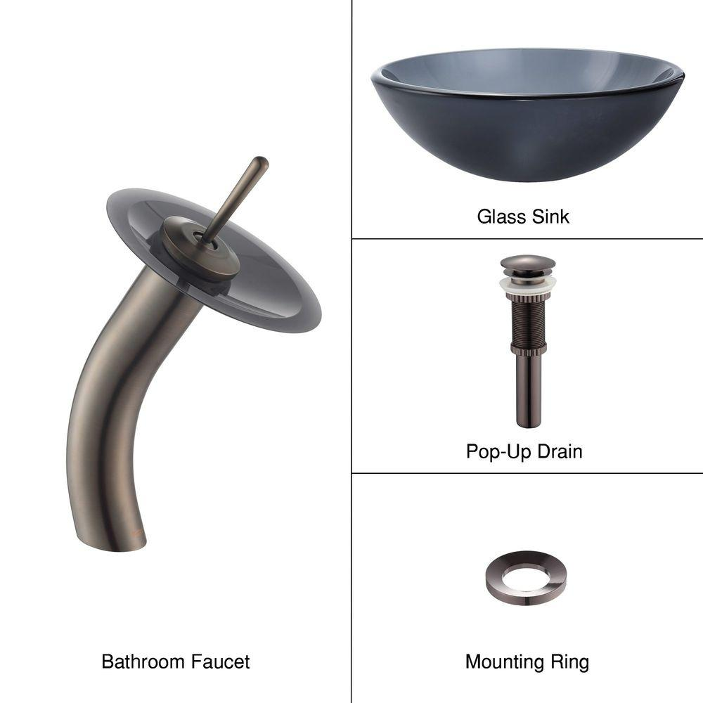 KRAUS Glass Bathroom Sink Frosted Black with Single Hole 1-Handle Low Arc Waterfall Faucet in Oil Rubbed Bronze-DISCONTINUED