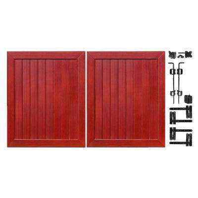Pro Series 5 ft. W x 6 ft. H Cherry Vinyl Anaheim Privacy Double Drive Through Fence Gate