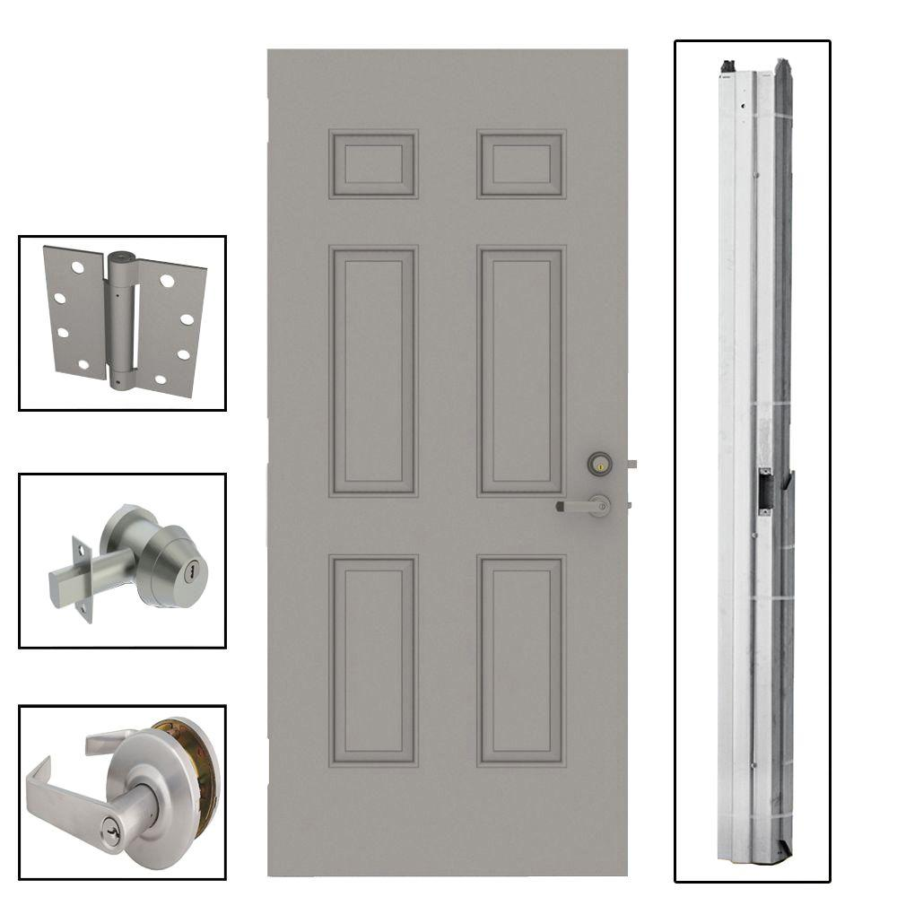 32 in. x 80 in. 6-Panel Steel Gray Security Commercial Door