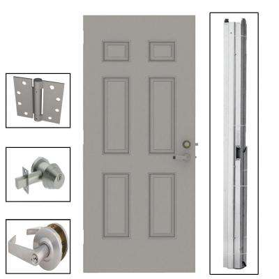 6-Panel Steel Gray Commercial Security Unit with Hardware