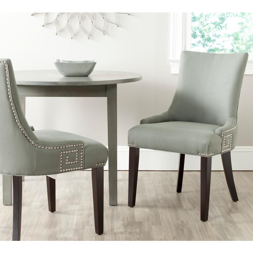 Safavieh Gretchen Granite/Espresso Linen Side Chair (Set of 2)