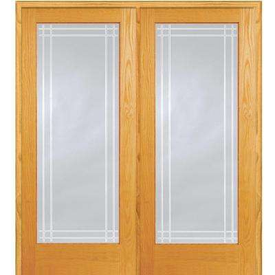 62 in. x 81.75 in. Classic Clear Perimeter V-Groove 1-Lite Unfinished Pine Wood Interior French Double Door