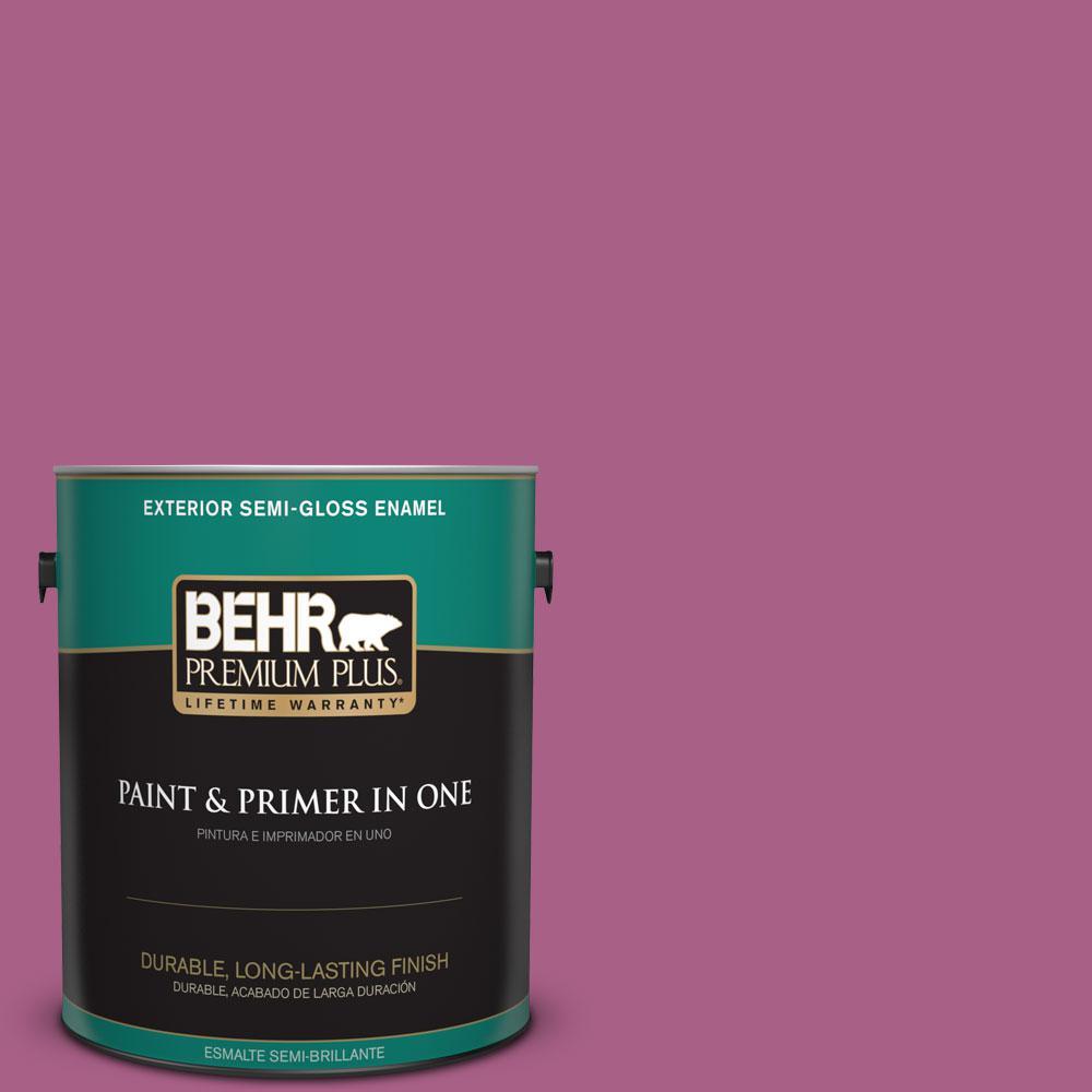 BEHR Premium Plus 1-gal. #690B-6 Wild Mulberry Semi-Gloss Enamel Exterior Paint