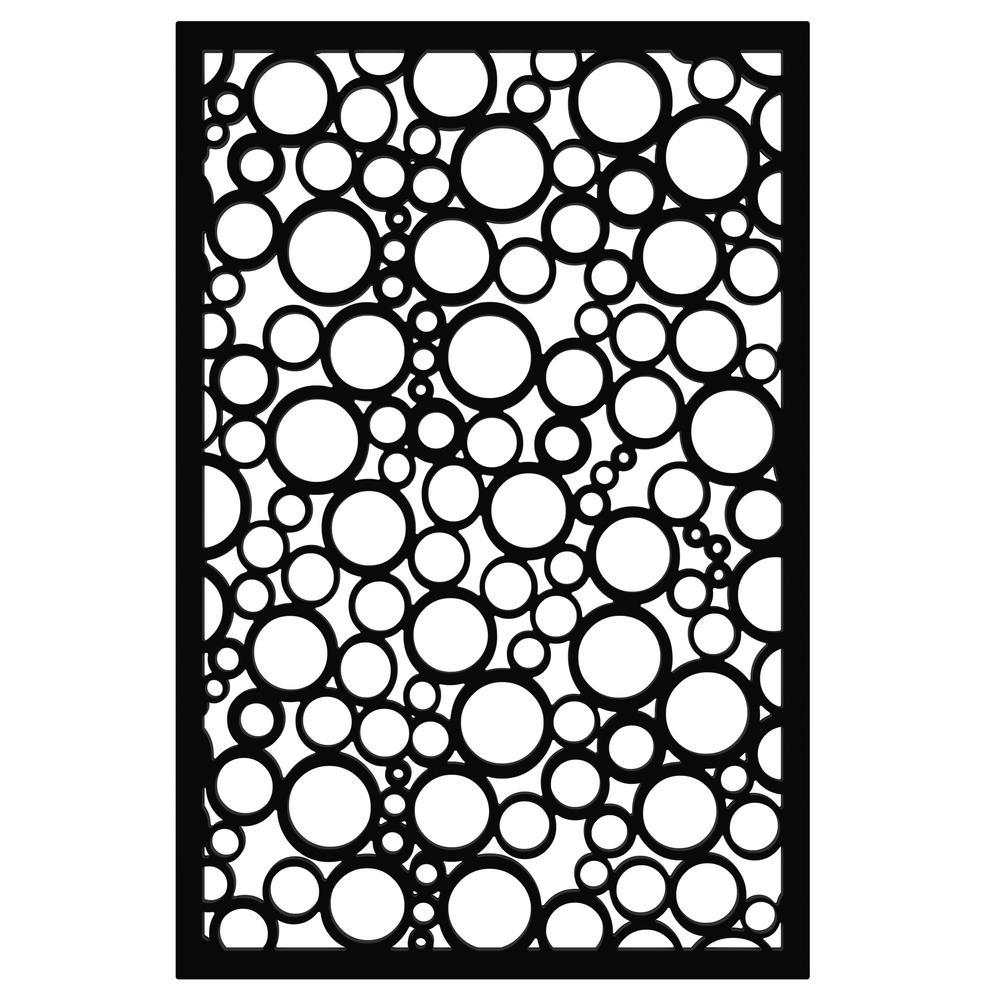 Jumbled Circles 32 in. x 4 ft. Black Vinyl Decorative Screen Panel