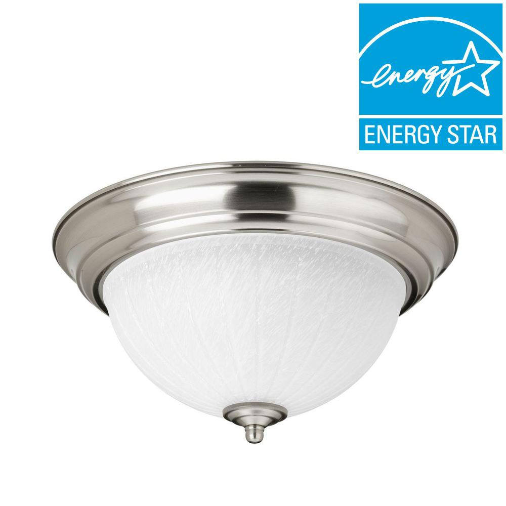 flush mount kitchen light progress lighting 11 38 in 1 light brushed nickel 3494